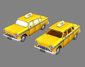 3D model Cartoon taxi - yellow