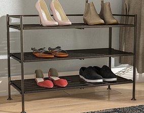 Mocha Pair Stackable Shoe Rack 3D model