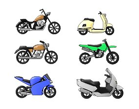 3D asset Low Poly Motorcycle Pack