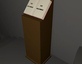 3D model Podium with Bookstand - Stylized Lowpoly