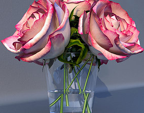 Roses in a vase 3D model floral
