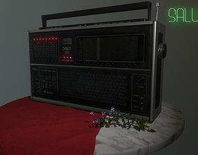 Soviet retro radio Salut-001 German version 3D asset