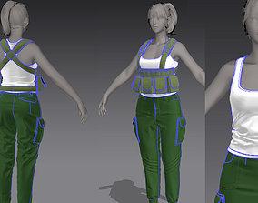 3D Women Military Uniform-Army uniform Marvelous Designer