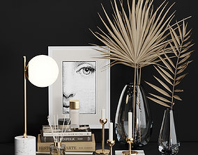 West Elm Decorative set with Dry Palm and books 3D
