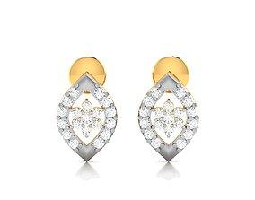 Women earrings 3dm render detail huggie diamondearrings