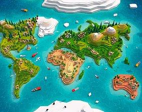 Cartoon Low Poly Earth World Map 2 3D asset