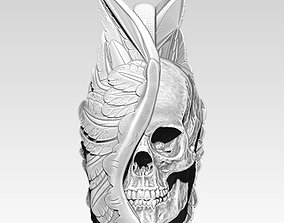 3D printable model Detailed Pendant man skull with wings