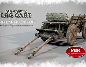 3D model Old Wooden Log Cart