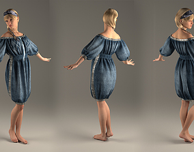 Jeans Dress with glitter band Marvelous Designer and 3ds