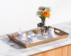 Porcelain breakfast set on a wooden tray 3D