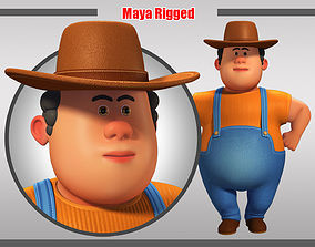 Cartoon Man Rigged 3D asset game-ready