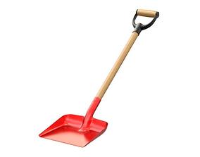 Red snow shovel 3D model red