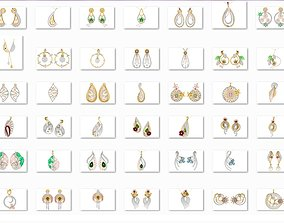 36 Artful Pendant Earrings 3dm stl render detail 3D 1