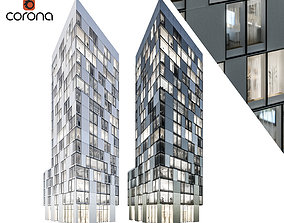 Modern residential building 08 at night with interiors 3D