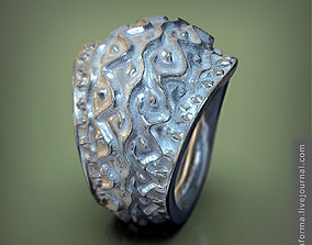 Massive archaic silver ring with natural ornament 3d 1