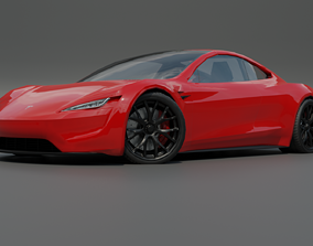 3D model Tesla roadster low poly