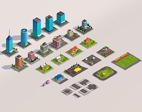 3D model Polygonia Low Poly Buildings Pack