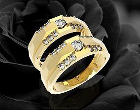 3D print model 355 Diamond wedding Rings