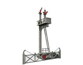 Train Signal Crossing 3D asset