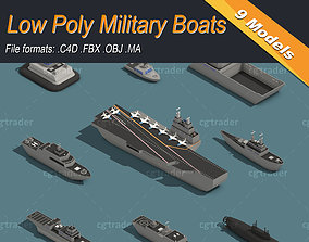 Low Poly Military Boats 3D asset low-poly