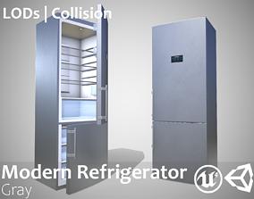 Modern Refrigerator Gray - Updated for 2021 3D model