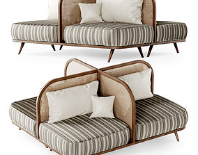 Two-seater restaurant sofa TS2 double side 3D