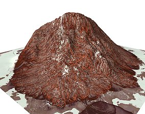 3D model Red Snow ICE Mountain Canyon Desert Low Poly 3