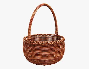 Wicker wooden basket round with handle 3D