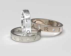 Set of B-V-L-G-A-R-I wedding bands 3D printable model 4