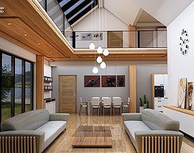 3D asset VR / AR ready living room interior