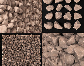 3D model Rock smooth river stone n1