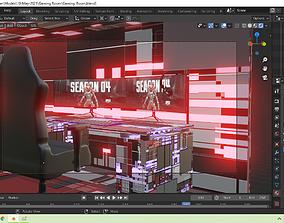 3D model Sci-fi Gaming room with desktops