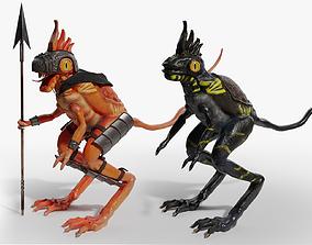 Lowpoly Lizard Warrior 3D asset