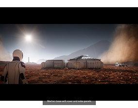 Space explorer bundle Martian base and SpaceX 3D model