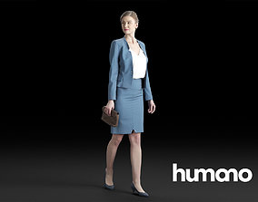 3D Humano Elegant Woman in suit walking and talking 0301