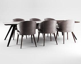 Minotti Aston Armchair and Evans Table - Cinema 4D 3D