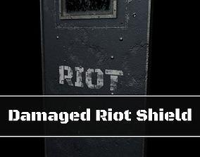 Damaged Riot Shield 3D asset