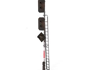 Train Traffic Light Weathered 14 3D