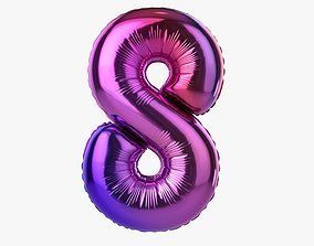 3D model Foil balloon number eight 8
