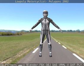 3D model Rigged Lowpoly Motorcyclist - Polygons 2802