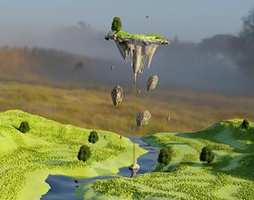 3D model fantasy floating land