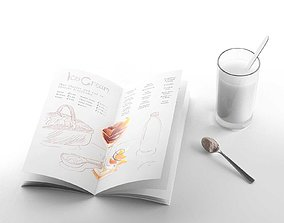 Composition Menu with Glass beverage 3D