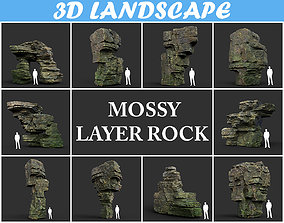Low poly Mossy Layer Rock Pack 200211 3D model