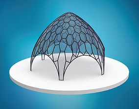 3D model Pointed hexagonal dome wireframe with glass 1