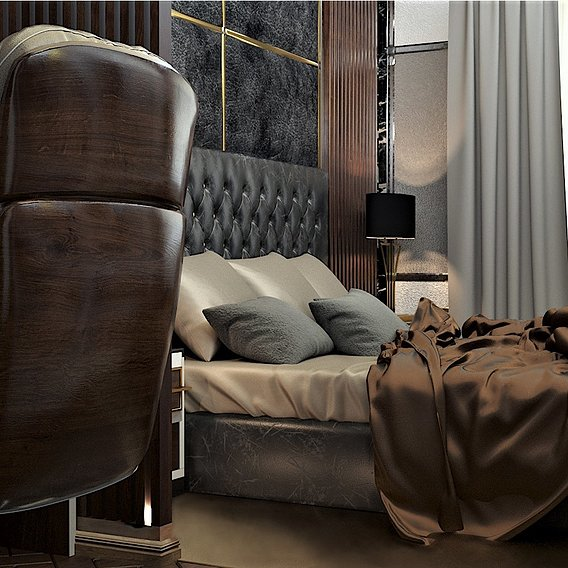 Bedroom visualization project. Art Deco style.