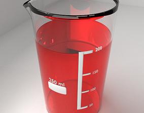 3D 250ml Glass Beaker with Liquid