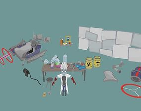 Lowpoly Science Lab Props 3D model
