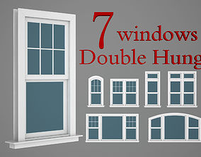 Double hung windows wood collection 3D