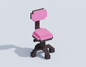 Voxel Computer Chair T1 3D model