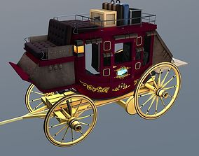 3D model Stagecoach Wagon with Luggage